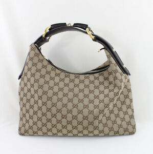 Gucci Beige Brown GG Monogram Canvas Medium Horsebit Hobo Handbag