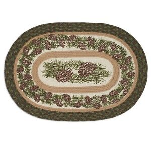 """Rustic Lodge/Cabin PINECONE 13"""" x 19""""  Oval Braided Placemat"""