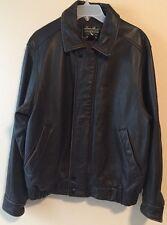 Eddie Bauer Men's Size Medium Heavy Brown Leather Bomber Jacket