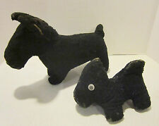 "Two antique hard stuffed toy black dogs - wired 15"" & non-wired 8"" long"