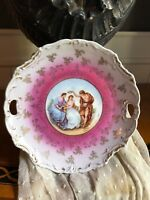 Antique Hand French Signed Moreau Handled Porcelain Tray Plate Cake Plate