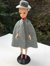 Vintage 60s MINT grey wool cape hat fit Sindy Cabin Crew Barbie doll SHIMMYSHIM