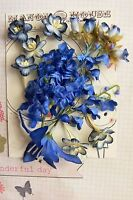 ROYAL BLUE & CREAM - 15 Flowers Blossoms & Lilly - PAPER & SILK 10-65mm H2-1