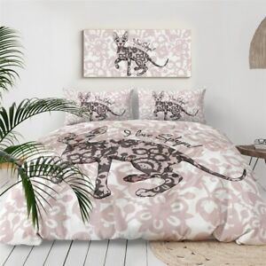 Floral Sphynx Pink Cat Animal King Queen Twin Quilt Duvet Pillow Cover Bed Set
