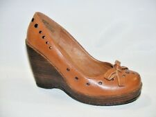 Yellow Box Women's Brown 7.5 M Leather Wedge Platform Heels Shoes Closed Toe Bow