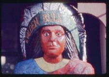 Golden Bull Carved  Wood Cigar Store Indian Chief Vtg Mounted Color Photo Slide