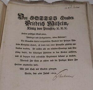 Zirkulare Berlin 1802-09 Geburten Todesfälle Königsfamilie Signaturen Thulemeyer
