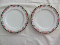 Gorham Camellia Pink Purple Floral -Green Marble -Gold - Set of 2 Dinner Plates