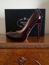 AUTHENTIC PRADA Milano Burgundy Red Patent Leather Court Shoes Heels EU38 UK5