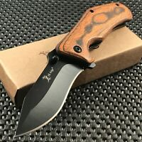 "7"" Elk Ridge  Hunting Wood Handle Spring Assisted Tactical Pocket Knife Open New"