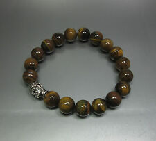 Tiger Eye 10mm Bead Bracelet  With Buddha Bead - Stretch - Fast Free US Shipping