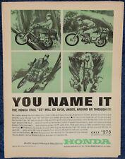 "ORIGINAL Advertising ""HONDA Trail ""55"" MOTORCYCLE 4-Cycle OHV"" 1-p Magazine 1963"