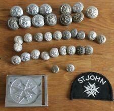 More details for vintage st john ambulance buttons belt buckle patch badges brass metal plastic