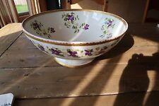 VINTAGE SUPER RARE Large Bowl Punch Serving T V Limoges Purple Violets