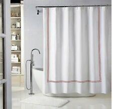 "Wamsutta Baratta Stirch Long Fabric Shower Curtain White Red 72"" X 84"""