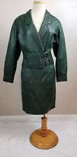 G-Iii Green Leather Jacket And Skirt Vintage 1980's