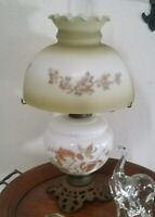 """Vtg Hurricane Parlor Lamp Electric Gone with the Wind 20"""" Roses Cherry Blossoms"""