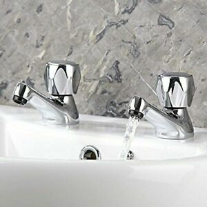 Bathroom Basin Sink Taps Chrome Round Head Commerical Hot & Cold Pair