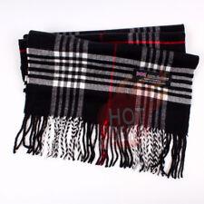 100/% CASHMERE Warm Wool Horizonta Stripe Scarf Wool SCOTLAND For Unisex Bk WHT