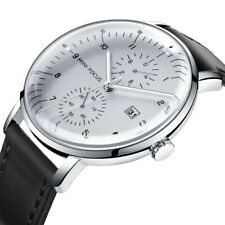 Herren Armbanduhr Analog Quarz Uhr Edelstahl Leder Schwarz 30m wasserdicht Datum