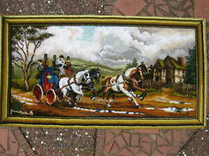 """Vintage Axminster Picture Rug Wall Hanging ~ Horses & Cart ~ Post Haste ~27""""x51"""""""
