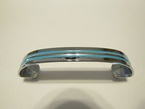 Vintage NOS CHROME / Brass Drawer Pull TURQUOISE Lines Wrap Under Cabinet Handle