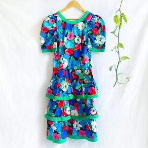 Vintage 80s Cotton TULIP PATTERNED Summer Floral Boho 1980s RaRa Dress Size 10 S