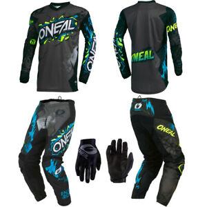 ONeal Element Villain Gray Jersey Pants Gloves motocross dirt bike off-road gear