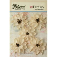 WILD SUNFLOWERS Textured Burlap IVORY x 5 flowers 60-65mm across Petaloo L