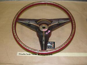 OEM 1975 75 Cadillac DeVille TILT TELESCOPIC STEERING WHEEL RED WITH WOODGRAIN