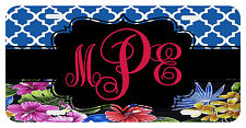 Personalized Monogrammed License Plate Auto Car Tag Floral Black Berry Blue