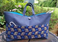 Large Navy Blue Knitting Bag with Elephants Pocket, Turquoise Lining, 3 Inner Po