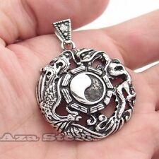 Men's Phoenix Dragon Ying Yan Tai Ji Stainless Steel Pendant Chain Necklace