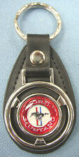 Red & White Ford MUSTANG Mini Steering Wheel Leather Keyring 1988 1989 1990 1991