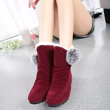 Women Fashion Winter Flats Ankle Boots Casual Shoes Warm Suede Shoes USPS