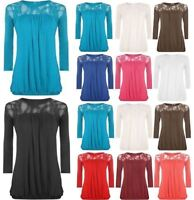 Womens Lace Round Neck Pleated Top Ladies 3/4 Sleeve Plus Size Party Wear Shirt