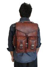 Vintage Leather Backpack Convertible Messenger Bag 13 In Laptop Satchel Rucksack