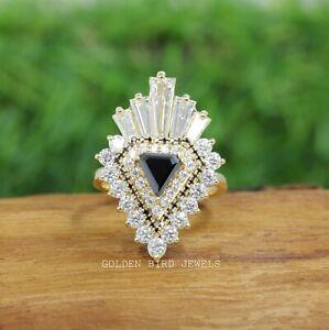 Shield Cut Black Moissanite And Baguette Cut Double Halo Vintage Engagement Ring