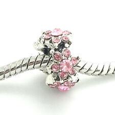 European 1pcs Silver CZ Charm Beads Fit Necklace Bracelet Pendant DIY pink