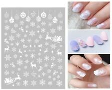 Christmas Nail Art Stickers Decals White Snowflakes Stars Reindeers Baubles W155