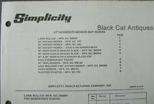 Original Simplicity Wonder-Boy Riding Mower Attachments Parts Catalog 11 Models