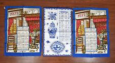 Lot of Three Vintage 1971 Linen Dutch Calendar Tea Towels