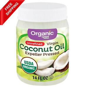 Great Value Organic Unrefined Virgin Coconut Oil 14 fl Oz free shipping