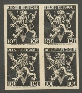 AOP Belgium #353 1944-1957 Lion Rampant 10f black imperf block of 4 MNH