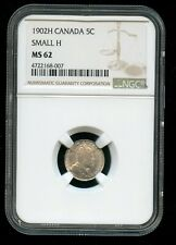 1902 H Canada 5 Cents Small H NGC MS62