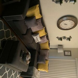 Gray Sectional with Ottoman/Matching Chair with Foot Stool.