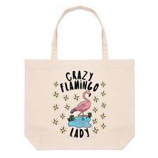 Crazy Flamingo Lady Stars Large Beach Tote Bag - Funny Animal Pink