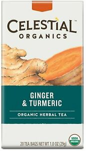 Organic Ginger & Turmeric Tea by Celestial Seasonings, 20 tea bag 1 pack