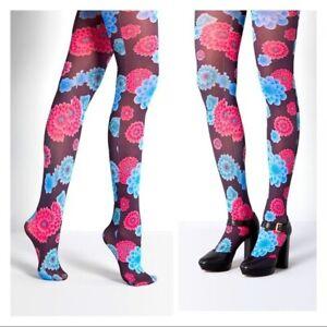 Brand New Retro Printed Blossom Pop Tights Hose 60s 70s OSFM Hippie Boho