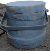 "6.5"" Sm Firkin-Wood Sugar Bucket-Shaker Pantry Box BLUE-Primitive TOP"